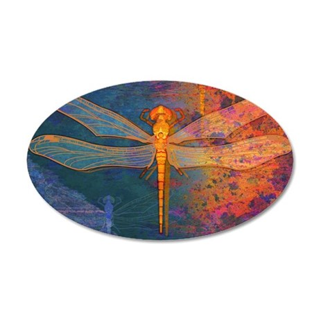 toiletryFlamingDragonfly 35x21 Oval Wall Decal