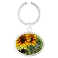 Sunflowers in Summer Oval Keychain
