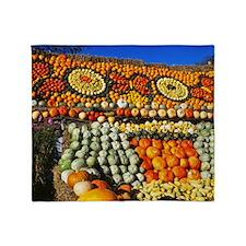 11 November Pumpkin display, Slindon Throw Blanket