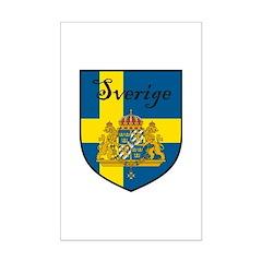 Sverige Flag Crest Shield Mini Poster Print