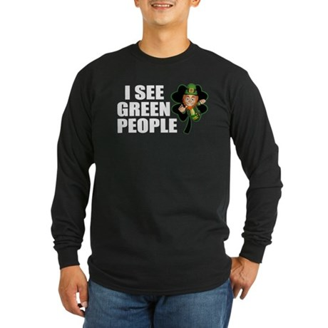 I See Green People Leprechaun Long Sleeve Dark T-S