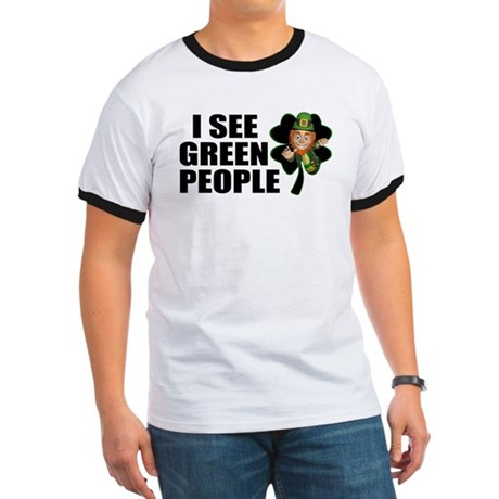 I See Green People Leprechaun Ringer T
