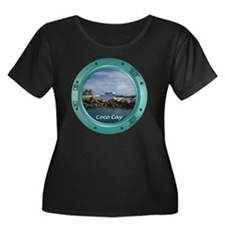 coco-cay Women's Plus Size Dark Scoop Neck T-Shirt