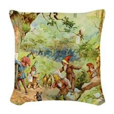 book of gnomes005_SQ2 Woven Throw Pillow