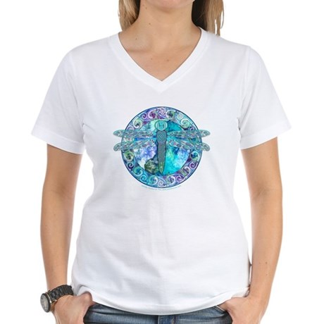Cool Celtic Dragonfly Women's V-Neck T-Shirt