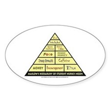 Maslow's Student Nurse Hierarchy Oval Decal