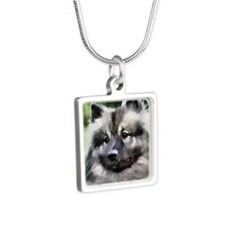 keeshond calendar Silver Square Necklace