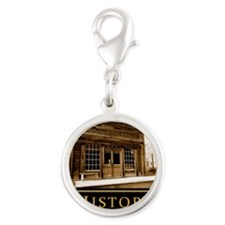 History demotivational poster Silver Round Charm