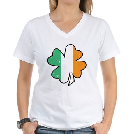 Vintage Irish Shamrock Women's V-Neck T-Shirt