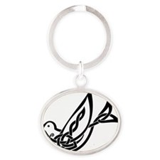 alone dove Oval Keychain