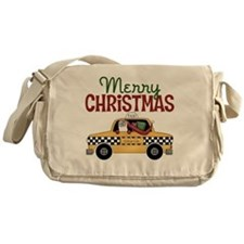 Merry Christmas Taxi Messenger Bag