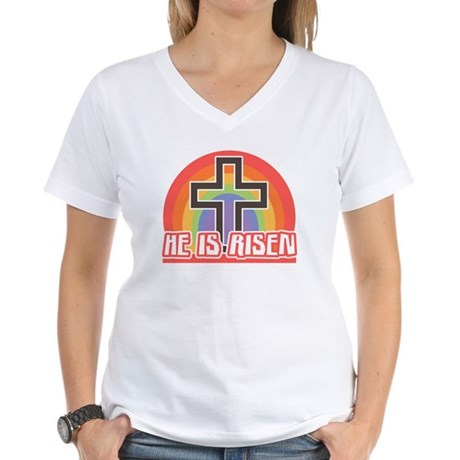 He Is Risen Religious Easter Women's V-Neck Tee