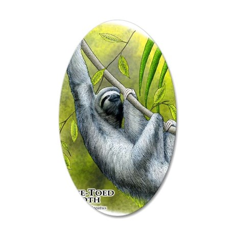 Three-Toed Sloth 35x21 Oval Wall Decal