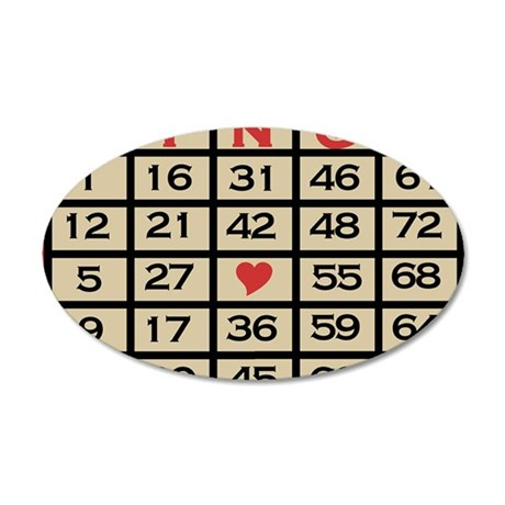 Bingo Game Card 35x21 Oval Wall Decal