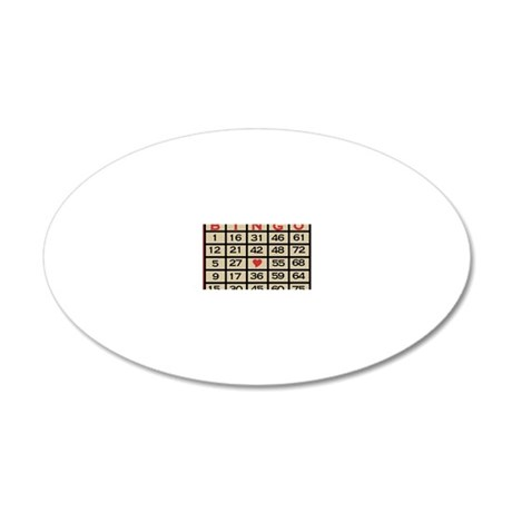 Bingo Game Card 20x12 Oval Wall Decal