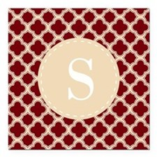 Quatrefoil Pattern Crimson Red and Tan with Custo