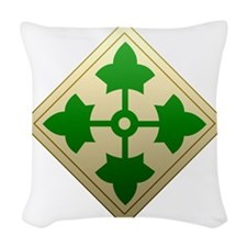 4th infantry div Woven Throw Pillow