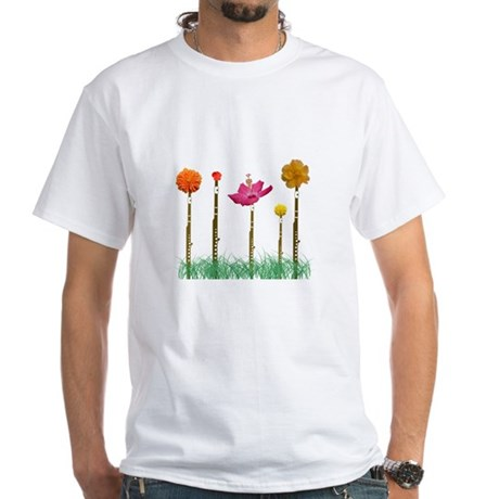 Flute Flowers White T-Shirt