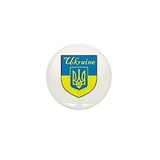 Ukraine Flag Crest Shield Mini Button (100 pack)