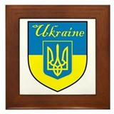 Ukraine Flag Crest Shield Framed Tile