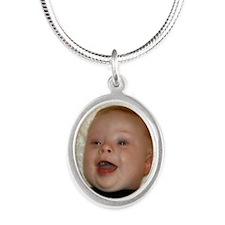 quinnbutton Silver Oval Necklace