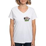 Blue Brassy Back Pair Women's V-Neck T-Shirt