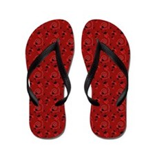 Cute Red Ladybugs Flip Flops