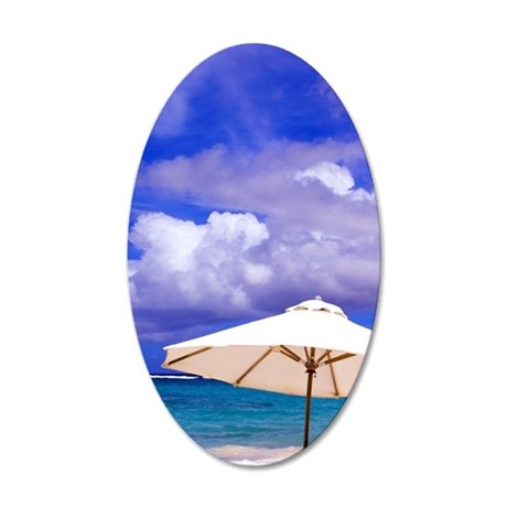 Umbrellas on Dawn Beach, St. 35x21 Oval Wall Decal