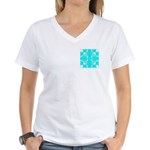 Cyan Owls Design Women's V-Neck T-Shirt