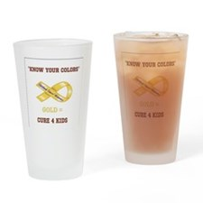 Know Your Colors GOLD = CURE 4 KIDS Drinking Glass