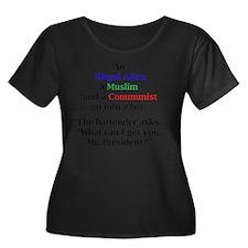 tshirt Women's Plus Size Dark Scoop Neck T-Shirt