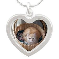 AJ in his basket Silver Heart Necklace