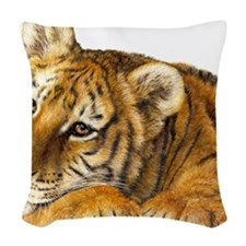 young tiger Woven Throw Pillow