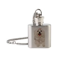 maltese ov key Flask Necklace