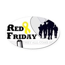 RED FRIDAY DESIGN 3 Oval Car Magnet