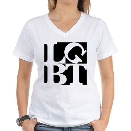 LGBT Black Pop Women's V-Neck T-Shirt