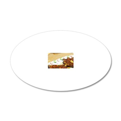 Grilled baked aubergine eggp 20x12 Oval Wall Decal