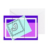 """J"" Squiggly Square Greeting Cards (Pk of 10)"