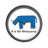 R is for Rhino Wall Clock