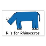 R is for Rhino Rectangle Decal