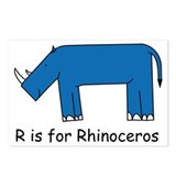 R is for Rhino Postcards (Package of 8)