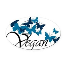 butterfly_vegan Oval Car Magnet