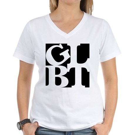 GLBT Black Pop Women's V-Neck T-Shirt