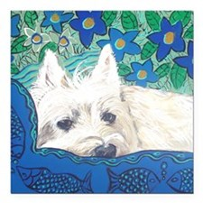 "MouseLite Westie Square Car Magnet 3"" x 3"""