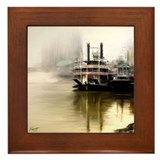 Riverboat Natchez in Fog - Framed Tile
