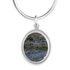 black bear Silver Oval Necklace