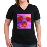 I Love You Women's V-Neck Dark T-Shirt