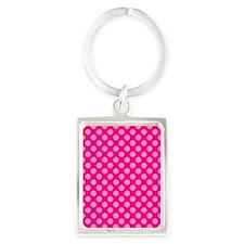 Pink Polka Dots 2 Portrait Keychain