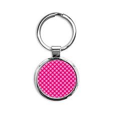 Pink Polka Dots 2 Round Keychain