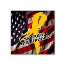 """support troops button updat Square Sticker 3"""" x 3"""""""